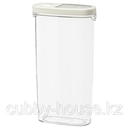 ИКЕА/365+ Контейнер+крышка д/сухих продуктов, прозрачный, белый, 2.3 л, фото 2