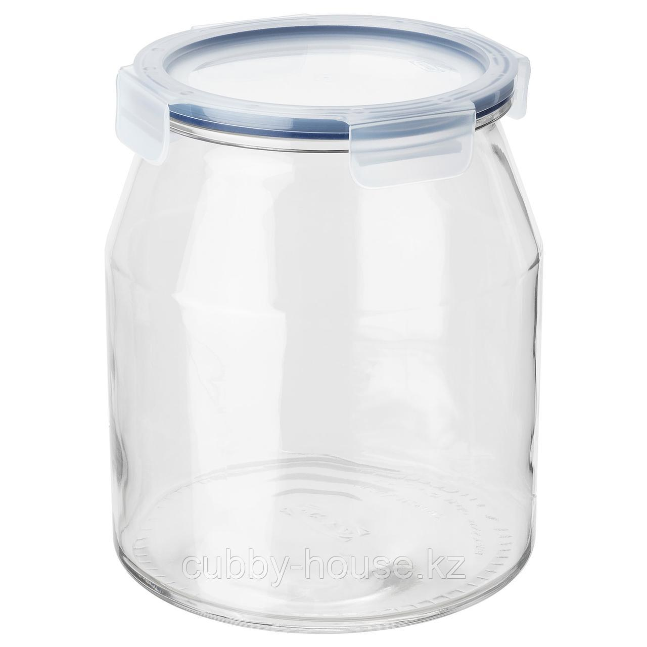 ИКЕА/365+ Банка с крышкой, стекло, пластик, 3.3 л