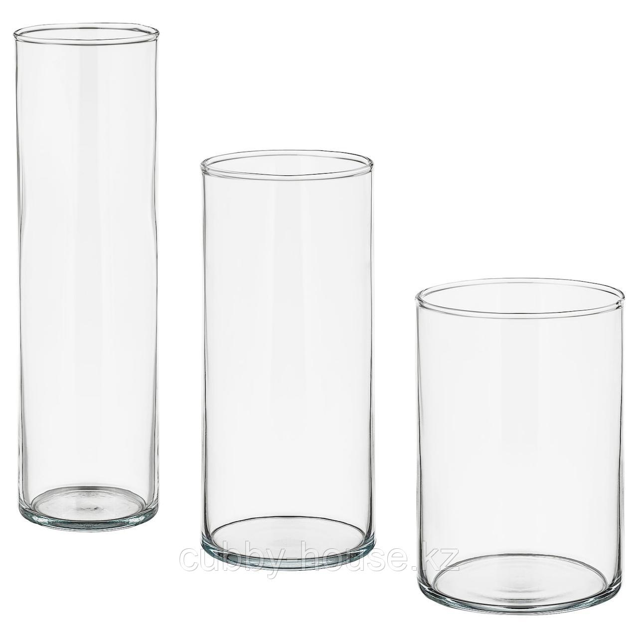 ЦИЛИНДР Набор ваз,3 штуки, прозрачное стекло