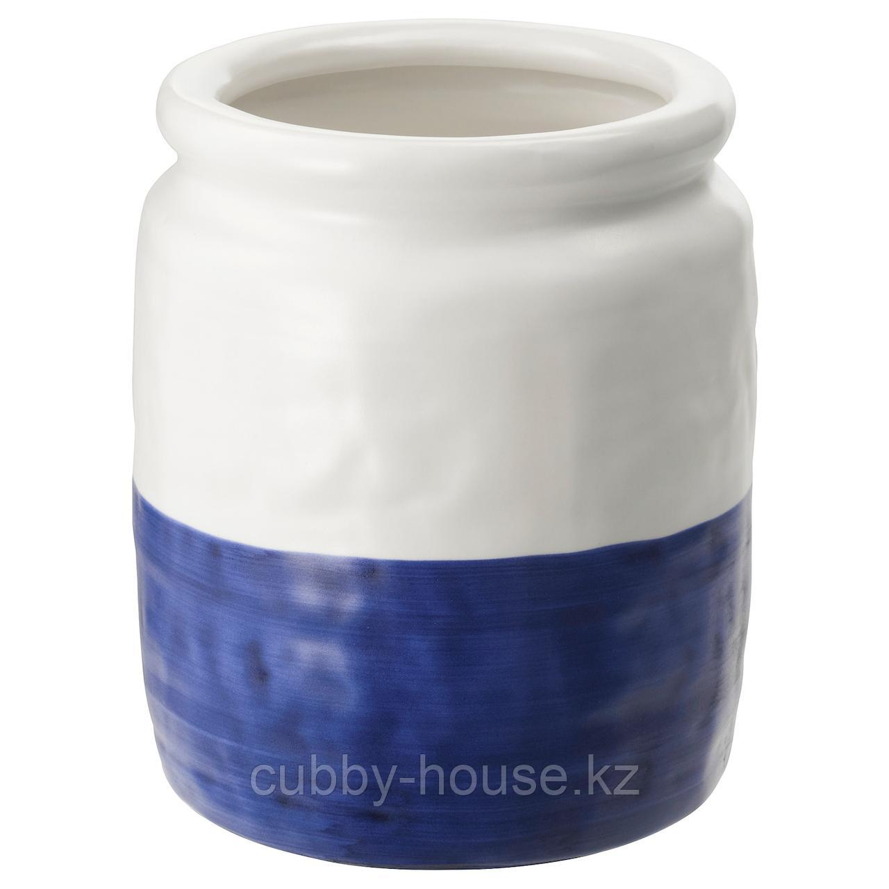 ГОДТАГБАР Ваза, керамика белый/синий, 18 см