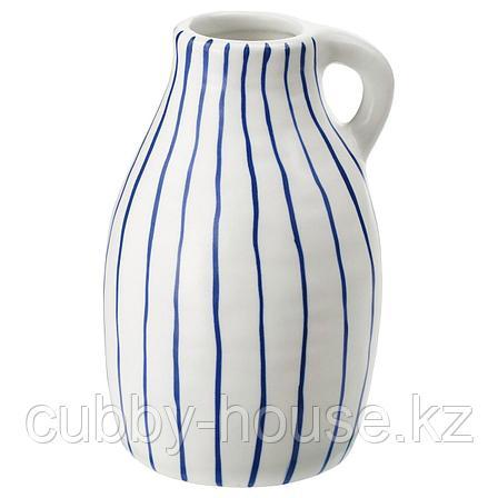 ГОДТАГБАР Ваза, керамика белый/синий, 14 см, фото 2