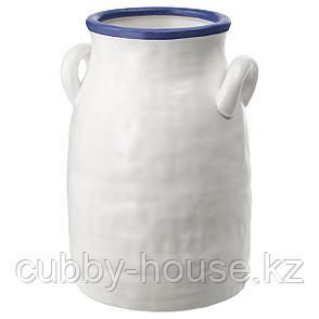 ГОДТАГБАР Ваза, керамика белый/синий, 25 см, фото 2