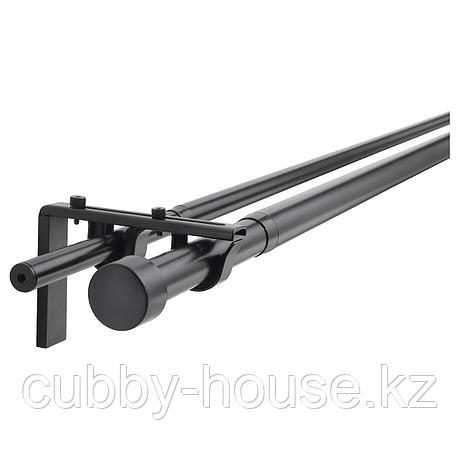 ХУГАД / РЭККА Двойной гардинный карниз/комбинация, черный, 120-210 см, фото 2