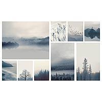 ГРОНБИ Картина, 9 шт., Пейзаж в синих тонах, 179x112 см