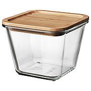 ИКЕА/365+ Контейнер для продуктов с крышкой, четырехугольной формы стекло, стекло бамбук, 1.2 л