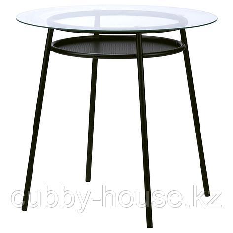 АЛЬСТА Стол, стекло, металлический черный, фото 2