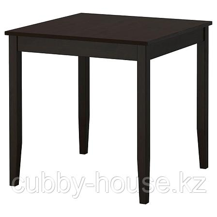 ЛЕРХАМН Стол, черно-коричневый, 74x74 см, фото 2
