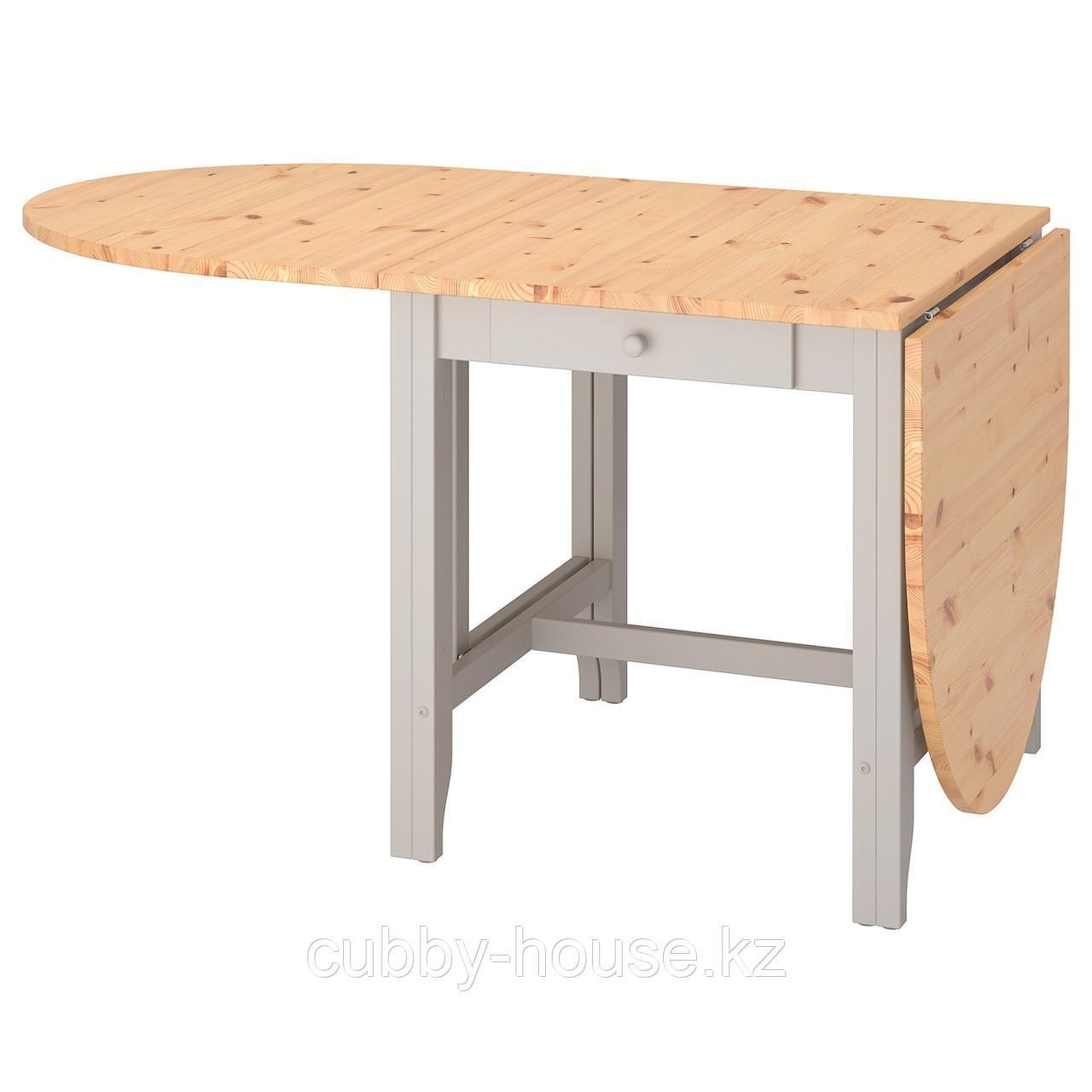 ГЭМЛЕБИ Стол складной, светлая морилка антик, серый, 67/134/201x78 см