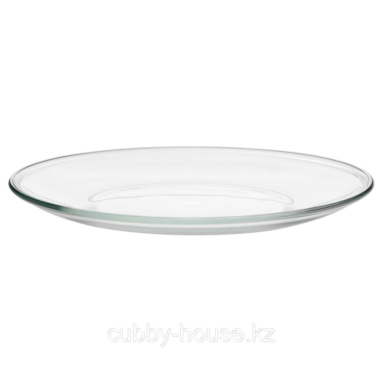 ОППЕН Тарелка, прозрачное стекло, 23 см