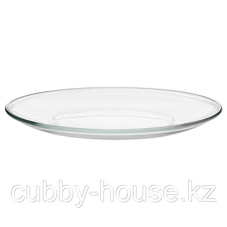 ОППЕН Тарелка, прозрачное стекло, 23 см, фото 2