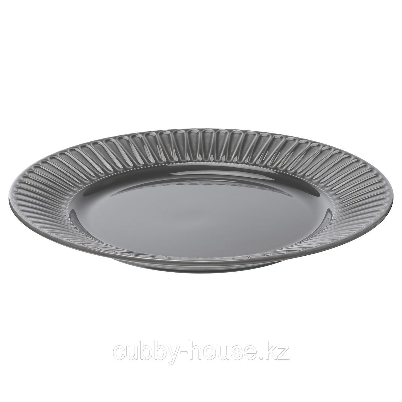 СТРИММИГ Тарелка, каменная керамика серый, 27 см