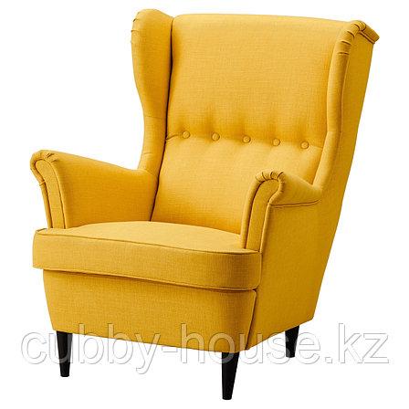 СТРАНДМОН Кресло с подголовником, Шифтебу желтый, фото 2