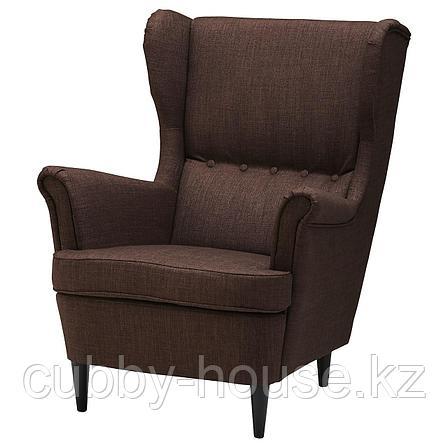 СТРАНДМОН Кресло с подголовником, Шифтебу коричневый, фото 2