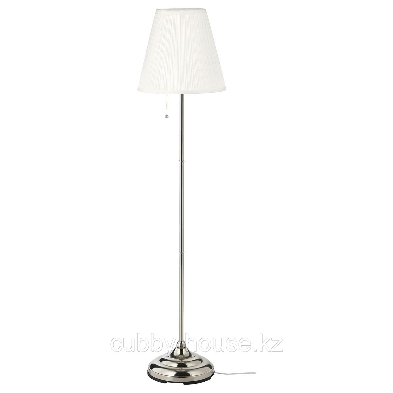 ОРСТИД Светильник напольный, никелированный, белый