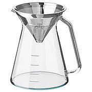 ХОГМОДИГ Кувшин и фильтр д/заваривания кофе, прозрачное стекло, нержавеющ сталь, 0.6 л