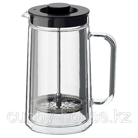 ЭГЕНТЛИГ Кофе-пресс/заварочный чайник, двуслойные стенки, прозрачное стекло, 0.9 л, фото 2