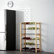 ИВАР 1 секция/полки д/бутылок, сосна, серый, 89x30x124 см