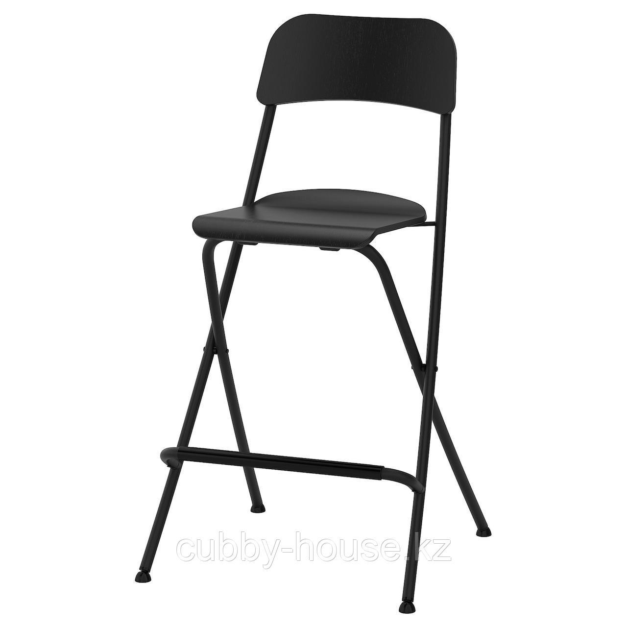 ФРАНКЛИН Стул барный, складной, черный, черный, 63 см