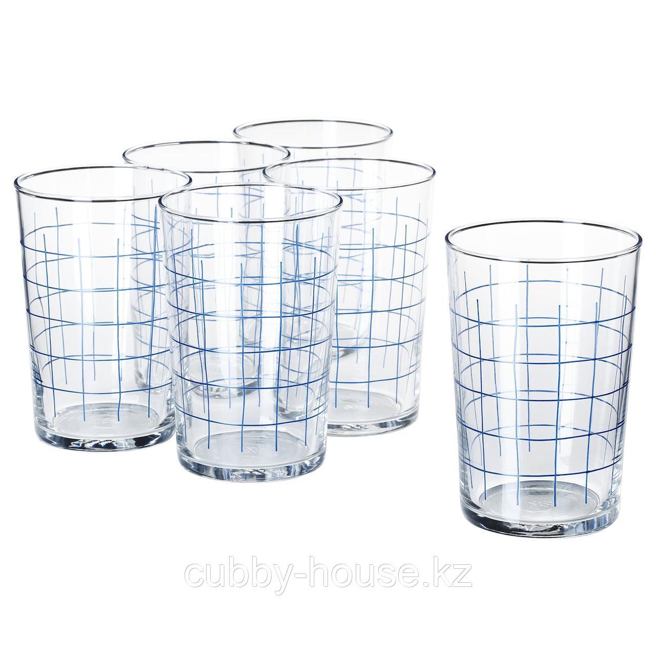 СПОРАДИСК Стакан, прозрачное стекло, клетчатый орнамент, 46 сл
