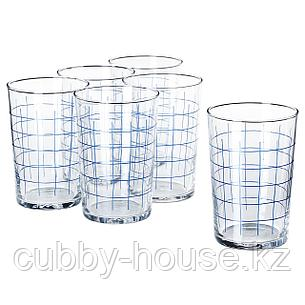 СПОРАДИСК Стакан, прозрачное стекло, клетчатый орнамент, 46 сл, фото 2