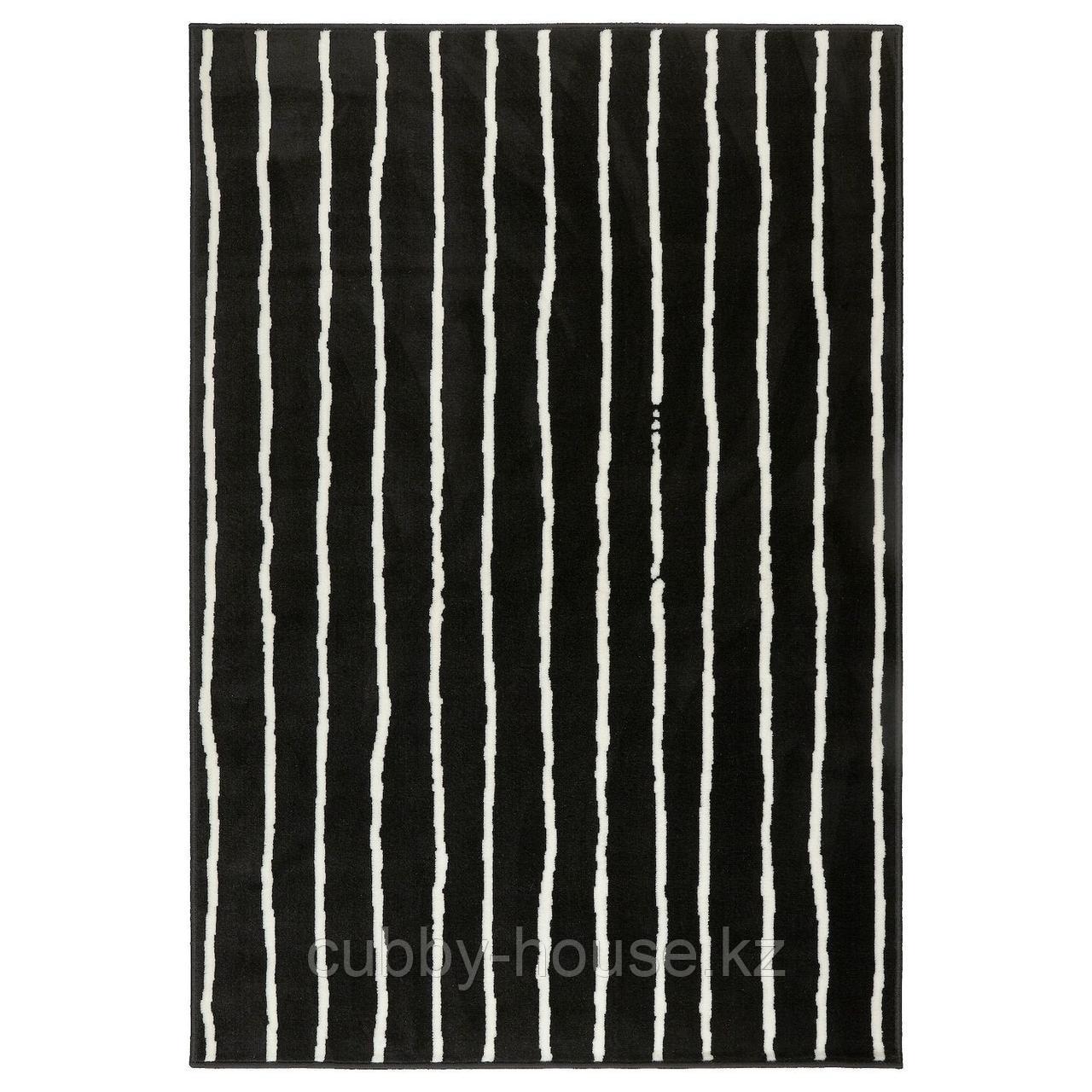 ГЁРЛЁСЕ Ковер, короткий ворс, черный/белый, 133x195 см
