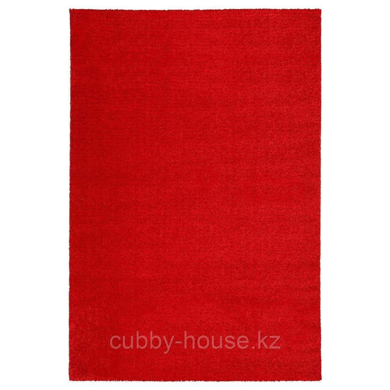 ЛАНГСТЕД Ковер, короткий ворс, красный, 133x195 см