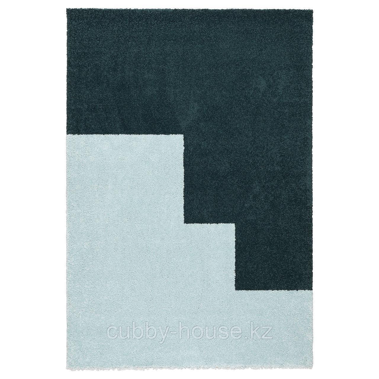 КОНГСТРУП Ковер, длинный ворс, голубой, зеленый, 133x195 см