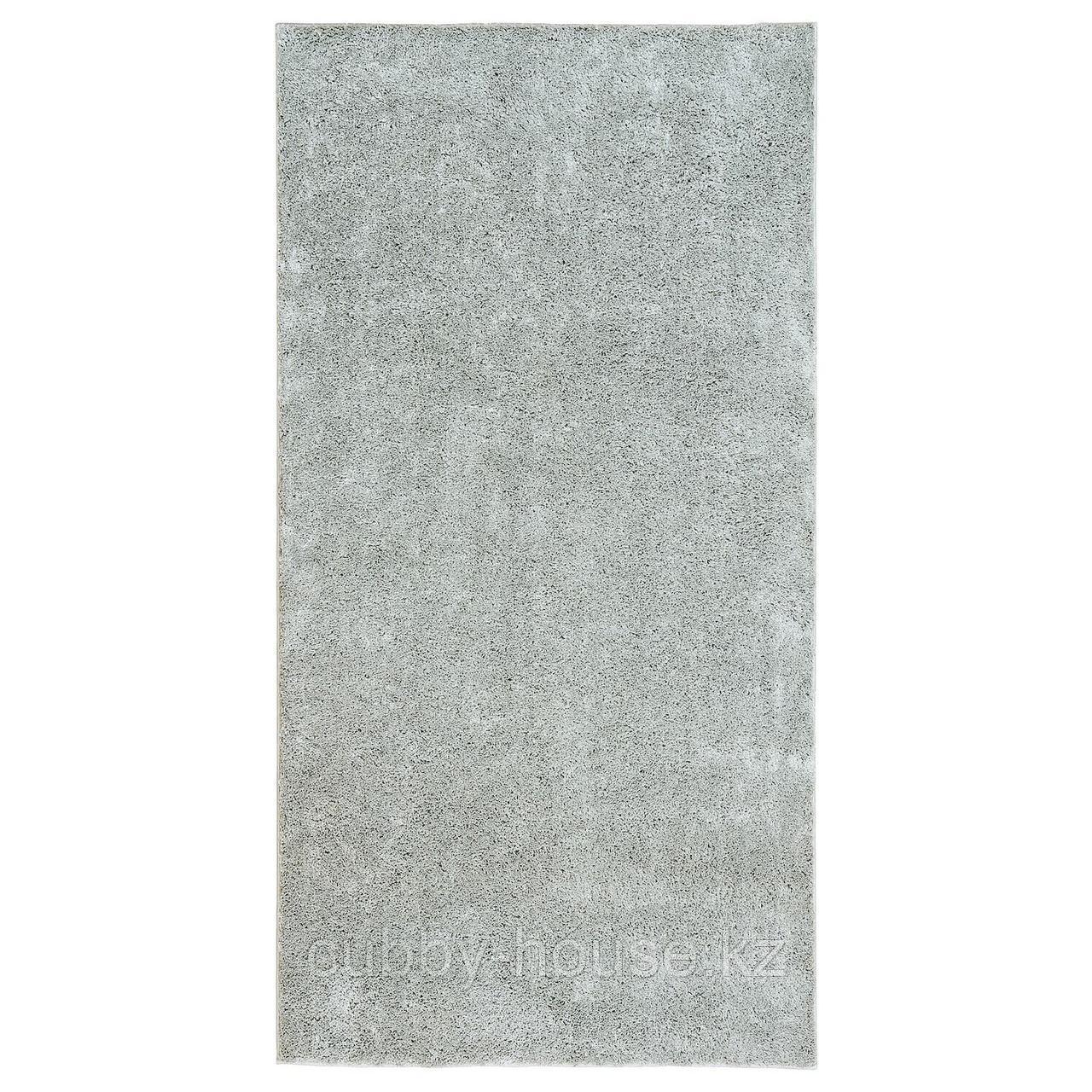 ВОНГЕ Ковер, длинный ворс, светло-серый, 78x150 см