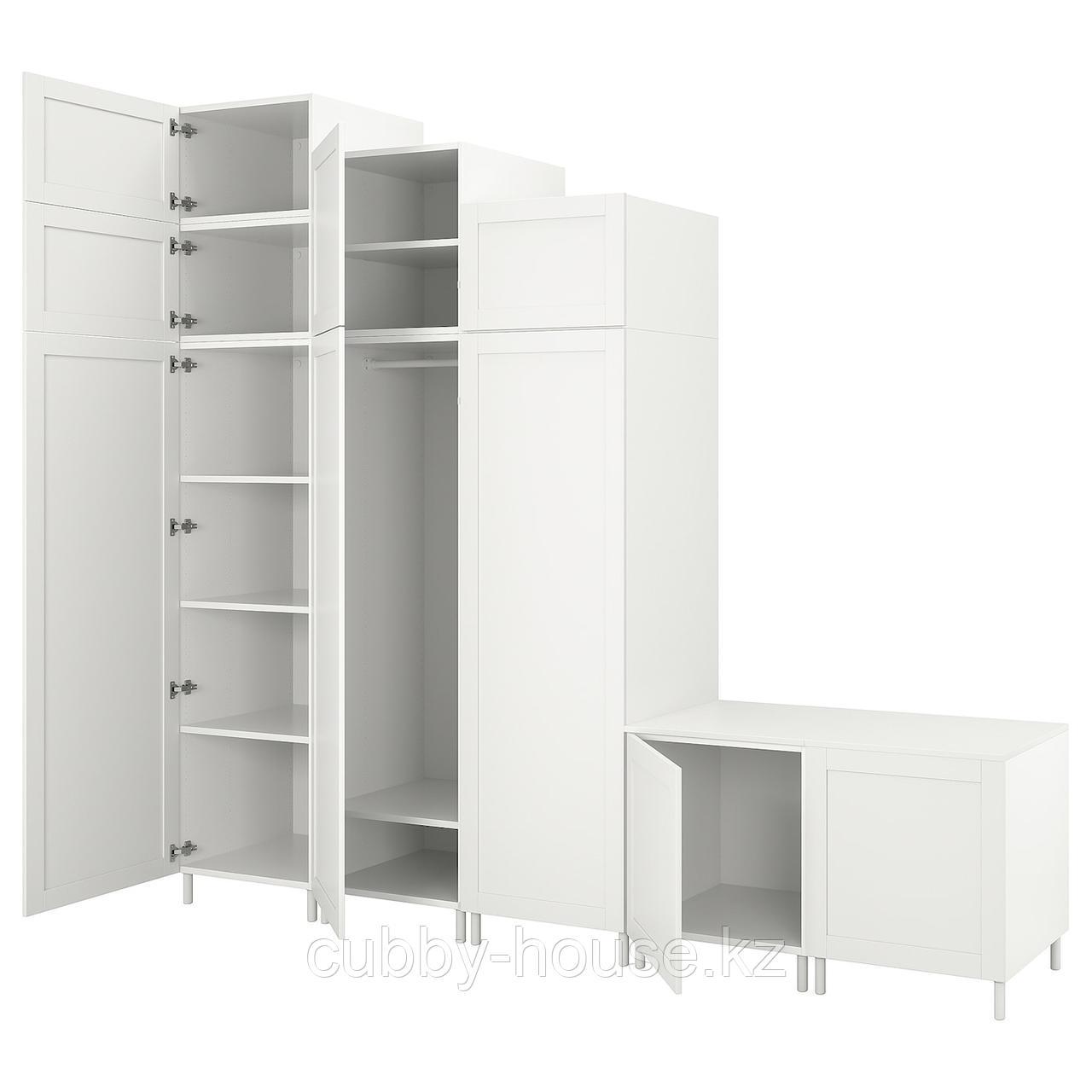 ОПХУС Гардероб с 9 дверями, белый Саннидаль, белый, 300x57x271 см