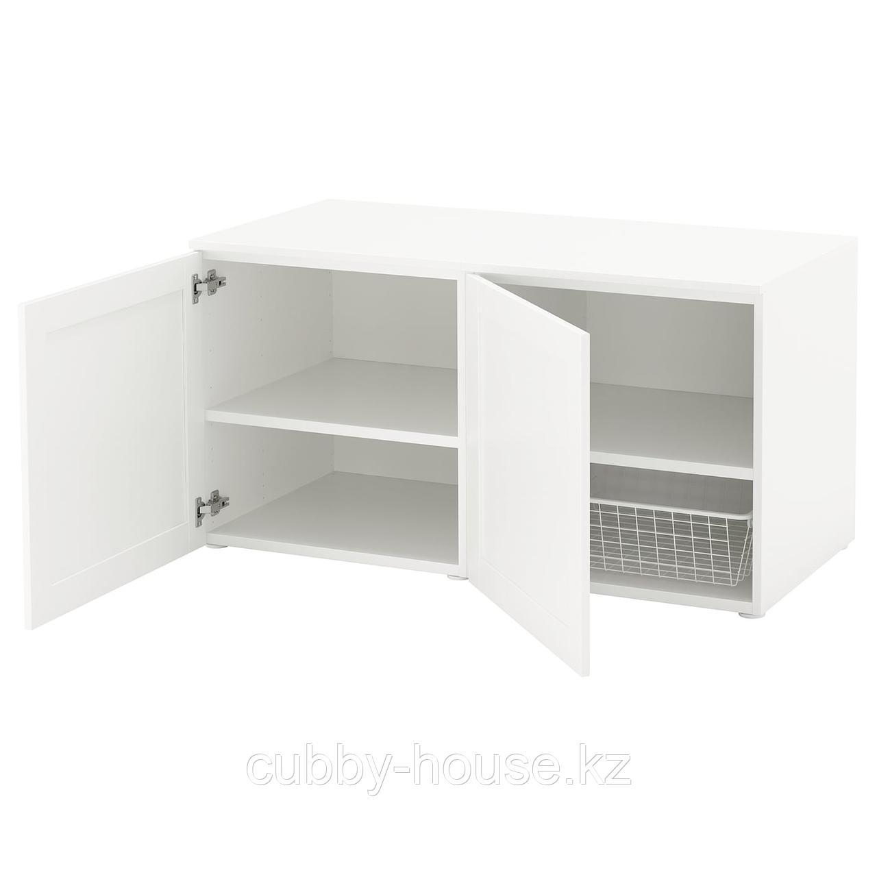 ОПХУС Скамья с ящиком, белый, Саннидаль белый, 120x57x63 см