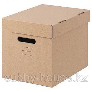 ПАППИС Коробка с крышкой, коричневый, 25x34x26 см, фото 2