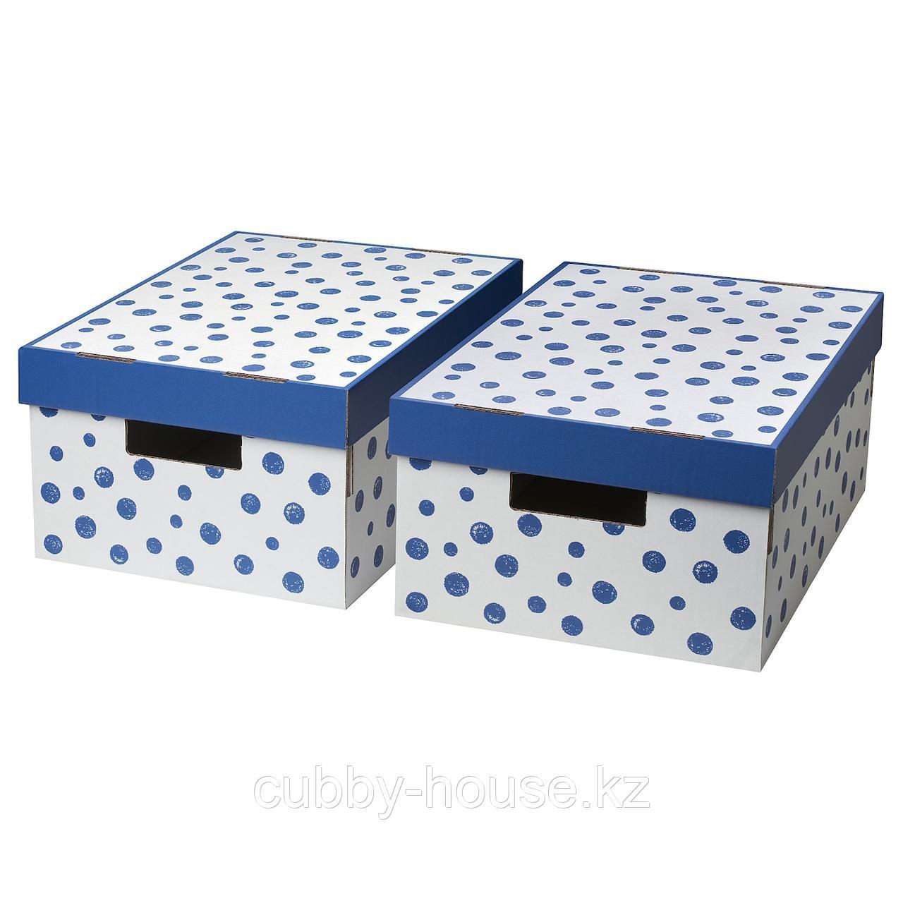 ПИНГЛА Коробка с крышкой, точечный, синий, 28x37x18 см