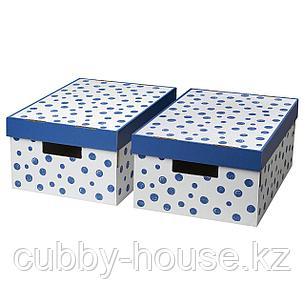 ПИНГЛА Коробка с крышкой, точечный, синий, 28x37x18 см, фото 2