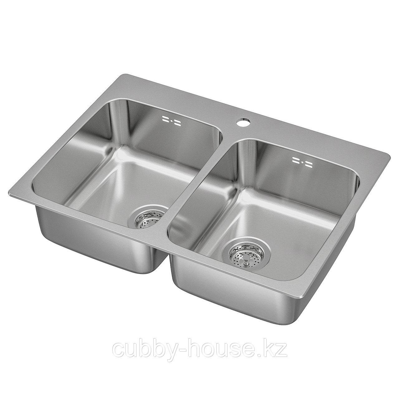 ЛОНГУДДЕН Двойная врезная мойка, нержавеющ сталь, 75x53 см