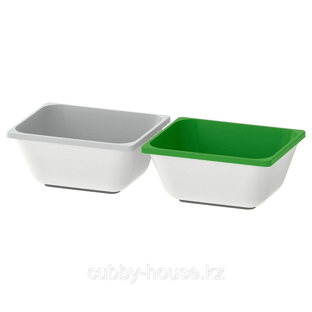 ВАРЬЕРА Контейнер, зеленый, серый, 10x12 см