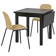 НОРДВИКЕН / ЛЕЙФ-АРНЕ Стол и 2 стула, светлый оливково-зеленый, Брур-Инге черный, 74/104x74 см
