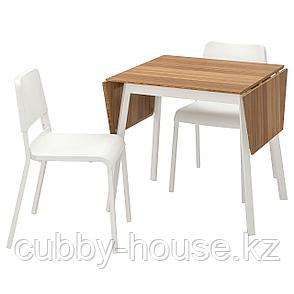 ИКЕА ПС 2012 / ТЕОДОРЕС Стол и 2 стула, бамбук белый, белый, фото 2