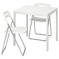 МЕЛЬТОРП / НИССЕ Стол и 2 складных стула, белый, белый, 75 см