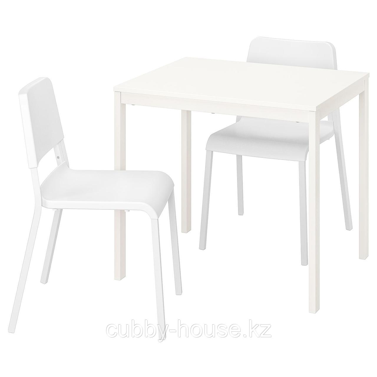 ВАНГСТА / ТЕОДОРЕС Стол и 2 стула, белый, белый, 80/120 см