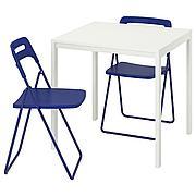 МЕЛЬТОРП / НИССЕ Стол и 2 складных стула, белый, темный сине-сиреневый, 75 см