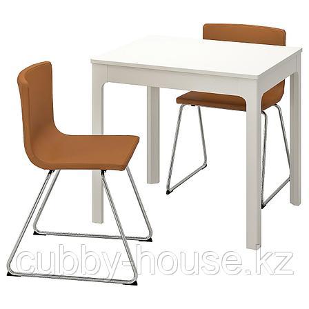 ЭКЕДАЛЕН / БЕРНГАРД Стол и 2 стула, белый, Мьюк золотисто-коричневый, 80/120 см, фото 2