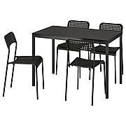 ТЭРЕНДО / АДДЕ Стол и 4 стула, черный, 110 см