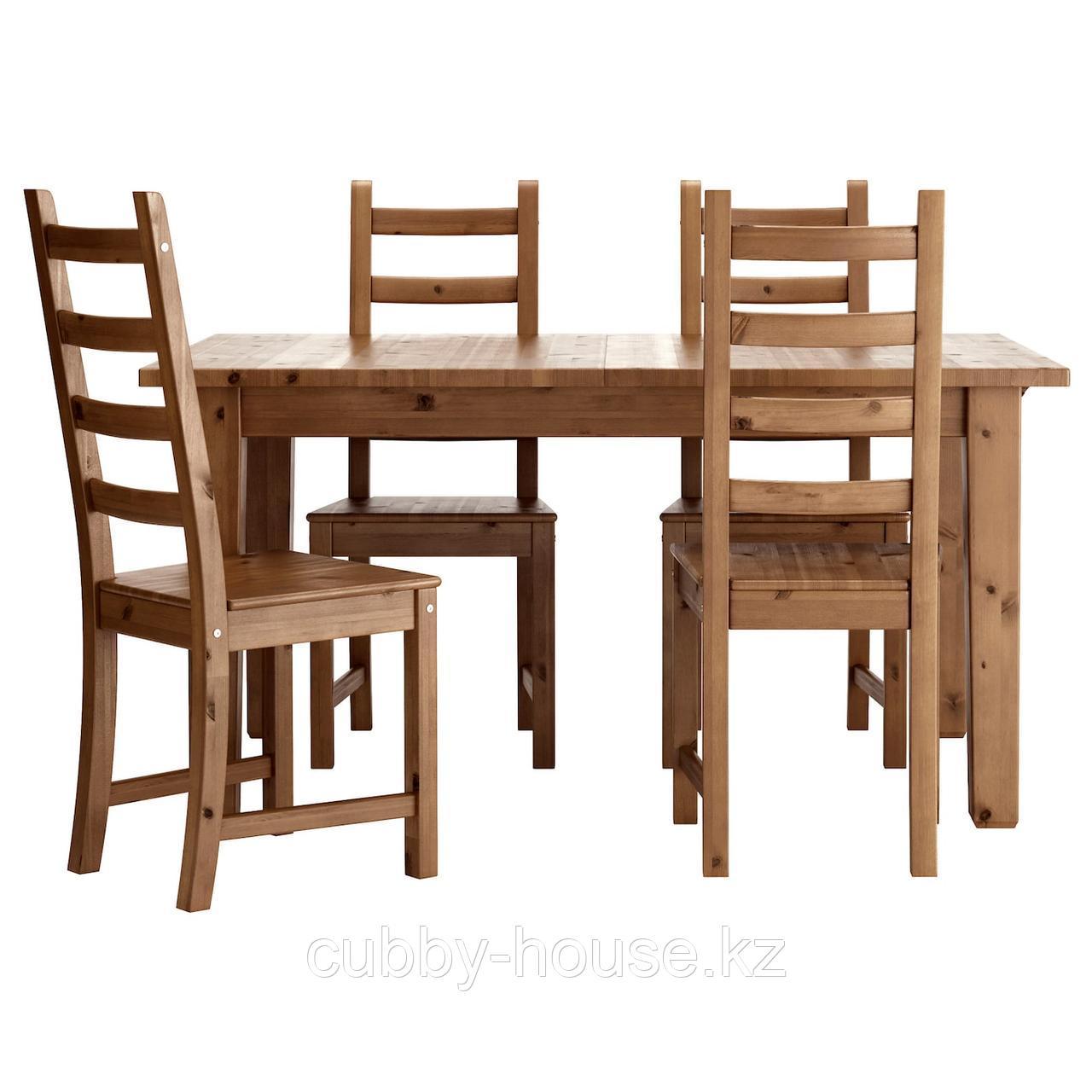 СТУРНЭС / КАУСТБИ Стол и 4 стула, морилка,антик, 147 см