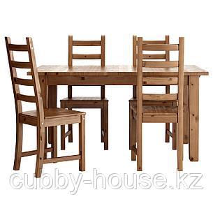 СТУРНЭС / КАУСТБИ Стол и 4 стула, морилка,антик, 147 см, фото 2