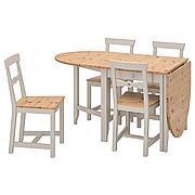 ГЭМЛЕБИ Стол и 4 стула, светлая морилка антик, серый, 67 см
