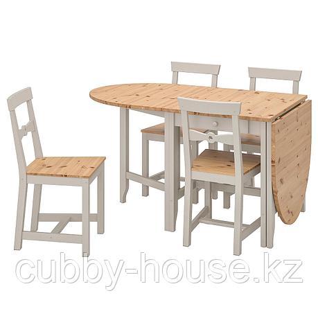 ГЭМЛЕБИ Стол и 4 стула, светлая морилка антик, серый, 67 см, фото 2