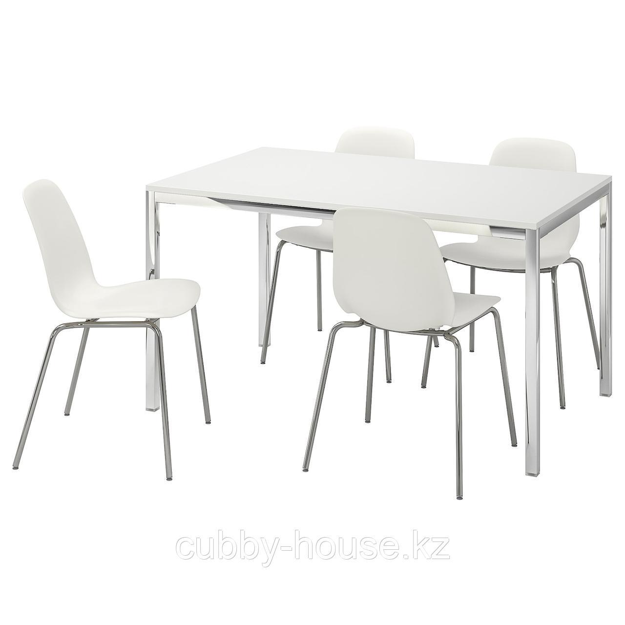 ТОРСБИ / ЛЕЙФ-АРНЕ Стол и 4 стула, глянцевый белый, белый, 135 см