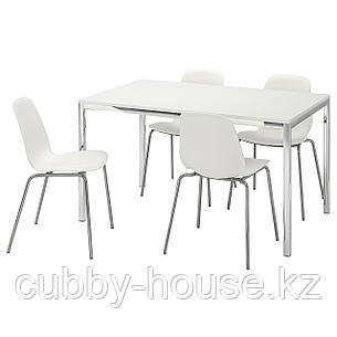 ТОРСБИ / ЛЕЙФ-АРНЕ Стол и 4 стула, глянцевый белый, белый, 135 см, фото 2