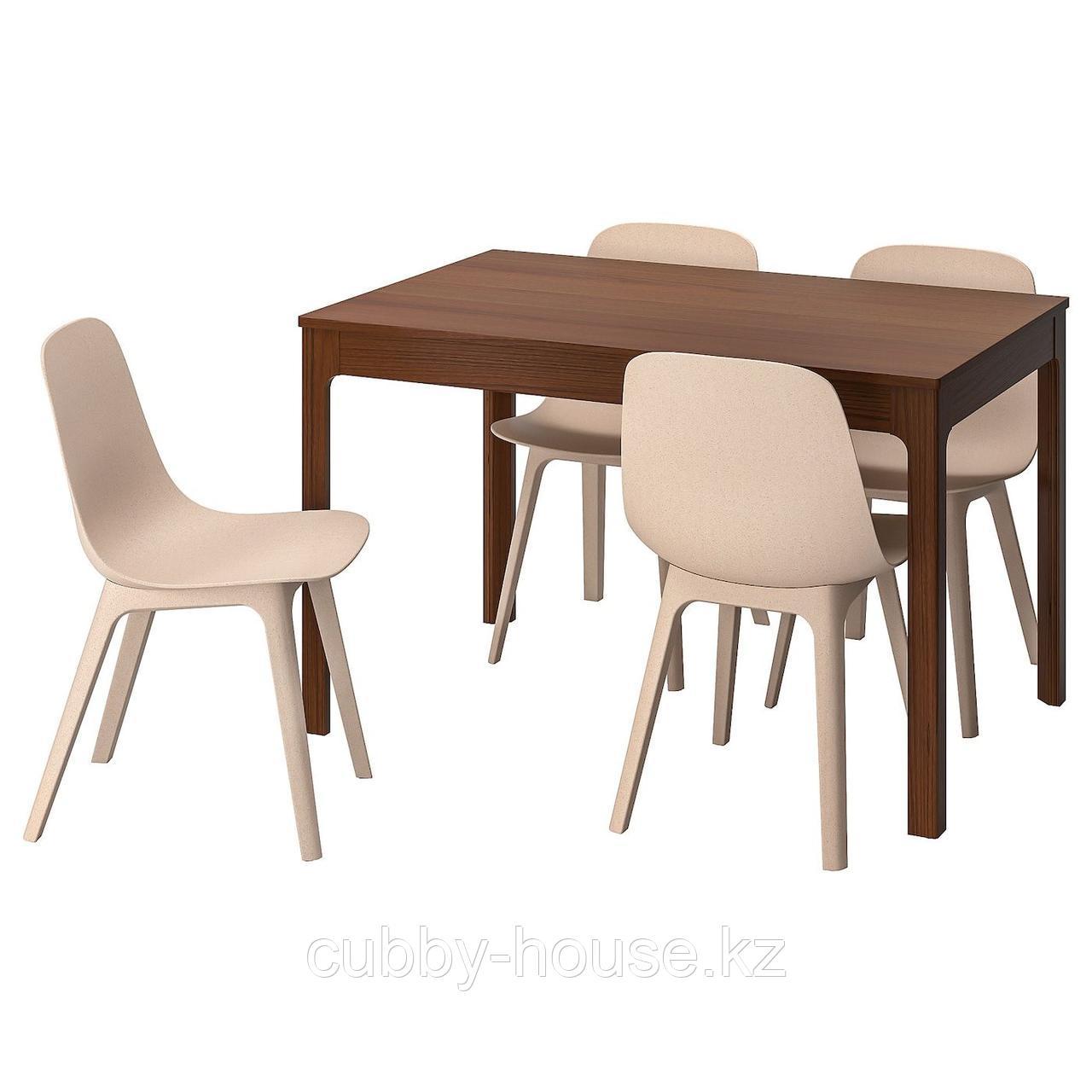 ЭКЕДАЛЕН / ОДГЕР Стол и 4 стула, коричневый, белый бежевый, 120/180 см