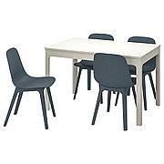 ЭКЕДАЛЕН / ОДГЕР Стол и 4 стула, белый, синий, 120/180 см